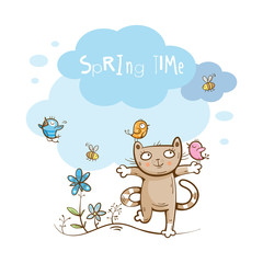 Vector spring card with cute cartoon cat,  bird and bees.