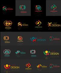 Outline swirl and circle minimal abstract geometric logo set