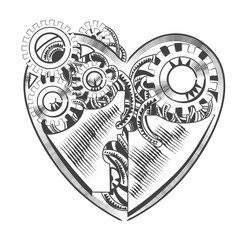 steampunk hipster vector drawing Valentine heart art element for card, site.