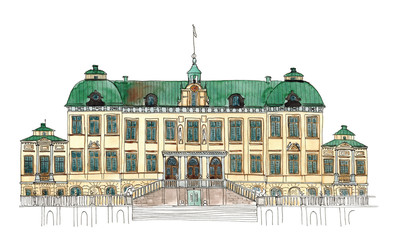 Watercolor Sketch Sweden Drottningholm palace isolated on white