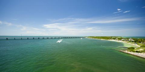 panoramic view to Seven Mile Bridge at Marathon Key, Florida Keys, USA