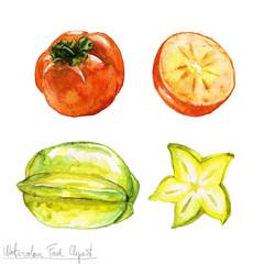 Watercolor Food Clipart - Persimmon and Carambola