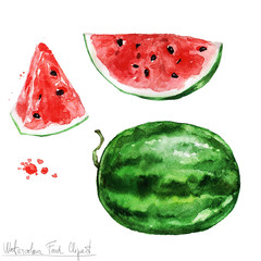 Watercolor Food Clipart - Watermelon