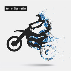 Motorcycle Riders. Vector eps10 illusration. Particle divergent composition