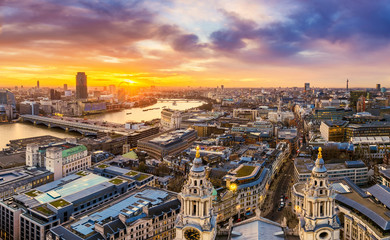Beautiful sunset over central London with famous landmarks, shot from top of St.Paul's Cathedral -...
