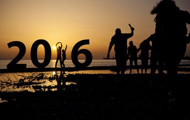 2016 Jahreszahl mit Leuten