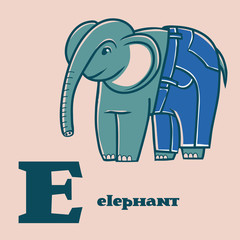 Letter E. Part of animal alphabet. Cartoon elephant wearing in jeans.