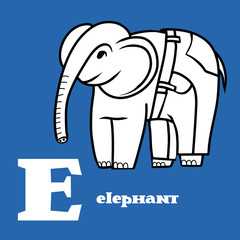 Letter E. Part of animal alphabet. Cartoon elephant wearing in jeans. Coloring black and white.