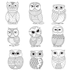 Nine owls design for coloring book, tattoo, shirt design and other decoration