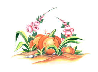Illustration with pumpkin and mallow