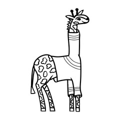Cartoon giraffe in pullover. Black and white coloring page.
