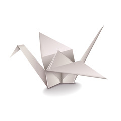 Origami Crane isolated on white vector