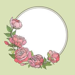 Flower frame. Floral vintage background in victorian style.