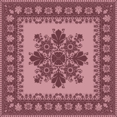 Vector abstract ethnic shawl floral pattern design for backgroun