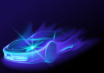 Blue Glowing Car with Blue Flames - Abstract Illustration, Vector