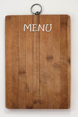 Menu board on a white background