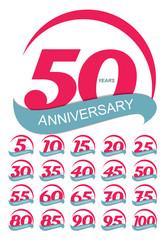 Template Logo Anniversary Set Vector Illustration