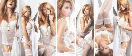 Seductive young lady in alluring lingerie posing on isolated background. Bridal underwear collage.
