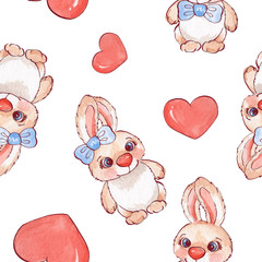 Cartoon rabbits. Watercolor seamless pattern 05 in vector
