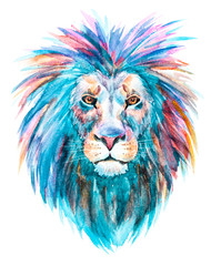 Watercolor raster lion