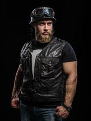 Portrait Handsome Bearded Biker Man in Leather Jacket and Helmet