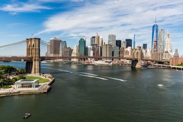 NEW YORK - AUGUST 22: Views of the Brooklyn Bridge on a summer d