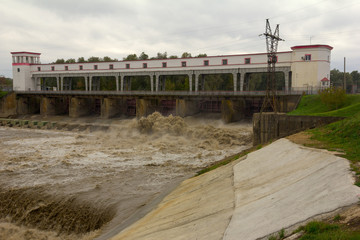 The hydroelectric dam on the river in the South of Russia