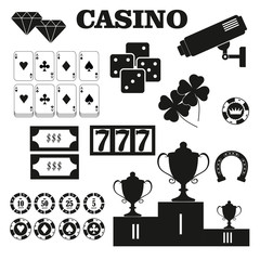 Casino  design elements vector icons. Casino games.Ace playing c