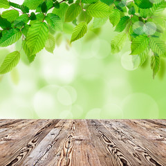 Nature background with wooden table