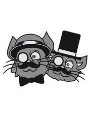 2 brothers buddies few team sir men mustache monocle glasses cylinder beard hat gentlemen sweet cute cats