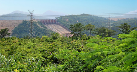 The dam / Akosombo Dam on the Volta River in Ghana (West Africa)