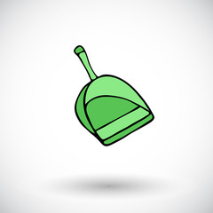 Dustpan sketch. Hand-drawn cartoon cleaning icon - scoop. Vector illustration.