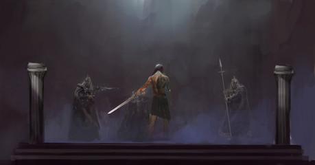 one hero fighting 3 knight