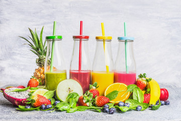 Assortment of smoothie with ingredients for blending, side view. Health or detox  diet food concept.