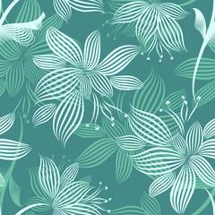 Turquoise Ornamental Flowers Seamless Pattern