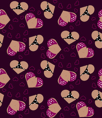 Background with hearts like boobs and asses. Seamless Pattern for Valentine's day. Vector illustration