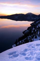 Sunrise Crater Lake Caldera National Park Oregon Western USA