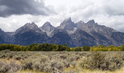 Overcast Day Jagged Peaks Grand Teton Wyoming Rocky Mountains
