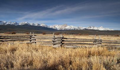 Wall Mural - Ranch Range Fence Sun Valley Idaho Sawtooth Mountain Range