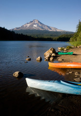 Boats Near Mountain Trillium Lake America Stock Photo