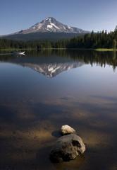 Boat on Mountain Lake Cascade Range Oregon State USA