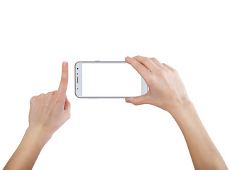 Female hands taking photo with smart phone of blank white touch screen, front view, isolated