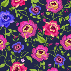 Seamless pattern wirh colorful flowers on black background.