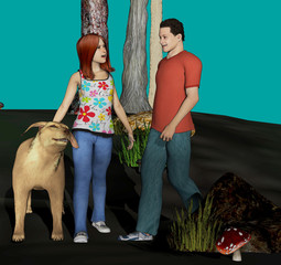 digitally rendered cartoon illustration of a boy meeting a girl and her dog for a date
