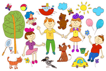 Doodle set of cute child's life including pets, toys, plants things for sport and celestial elements.