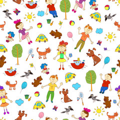 Doodle seamless pattern of cute child's life including pets, toy, things for sport and celestial elements.