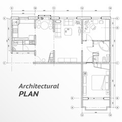 Architectural set of furniture on apartment plan with sizes. Interior design elements for house, kitchen, bedroom, bath-room. Thin lines icons. Home, hotel equipment. Vector