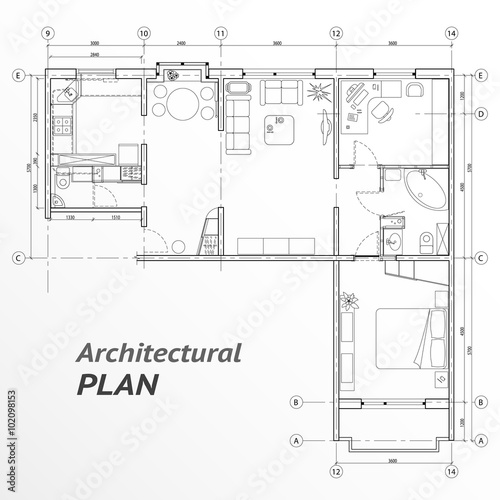 Architectural Set Of Furniture On Apartment Plan With Sizes. Interior Design  Elements For House,