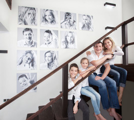 Family photos on the wall