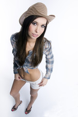 Beautiful Brunette Cowgirl Standing